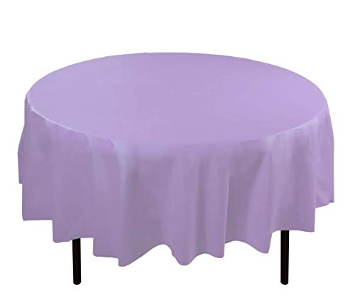 6-Pack Premium Plastic Tablecloth 84in. Round Plastic Table cover - Lavender
