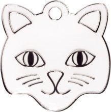 Bow Wow Meow Personalizado Chapa identificativa para Gatos con forma de Cara de Gato en color