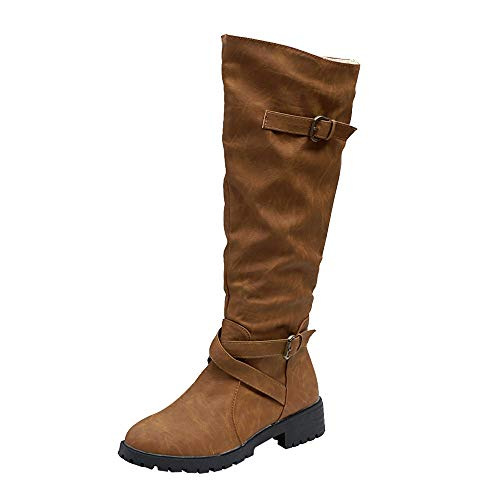 Aurorax-shoes Women's Knee Booties High 14.6'',Western Girsl Leather Flat Military Combat Biker Army Boot Long Boots 5.5-9.5 (Brown, US:7.5/CN 39) by Aurorax-shoes