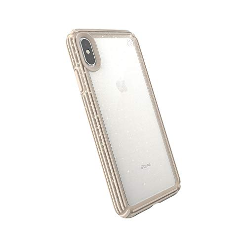 Speck Products Compatible Phone Case for Apple iPhone Xs Max, Presidio V-Grip Case, Clear with Gold Glitter/Calfskin Brown