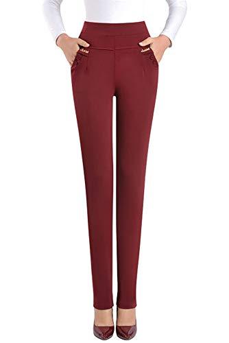 KINDOYO Donn Leggings Alta Vita - Colore Solido Taglie Forti Elastico Pantaloni Casual Vino Rosso