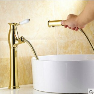 Yellow Maifeini High Quality Classic Brass Bath Single Lever Basin Sink Tap With Pull Out The Shower Head For The Two Pcs Hose, Yellow