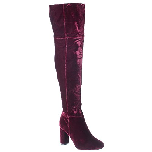 WOMENS LADIES NEW OVER THE KNEE THIGH HIGH MID BLOCK OVAL HEEL ZIP UP BOOTS SHOES SIZE Wine Velvet p9S1uU42a