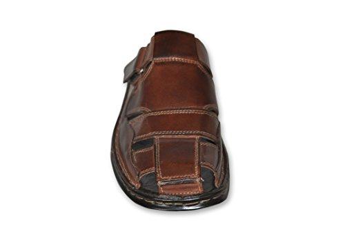 KS® 33 - Herren Pantoffel/Sandale aus Leder für den Sommer - Braun