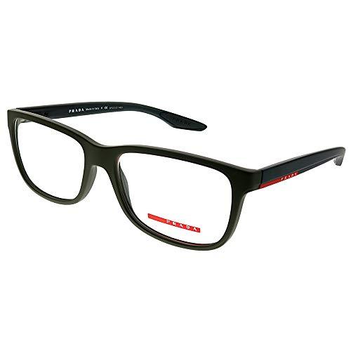 Prada Sport Rx Eyeglasses Frames Vpr 02G Ubw-1o1 56x17 Dark Green Rubber Italy (Glasses For Women Prada)