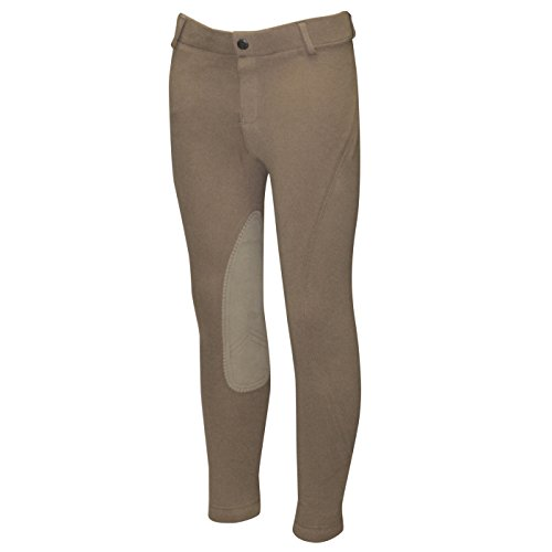 ELATION Kids Riding Breeches Girls & Boys Red Label - Pull On Kids Riding Pants, Classic Duff Breeches, Kids Leather Knee Patch w/Elastic Band - Kids Breeches Girls Riding Tights ()