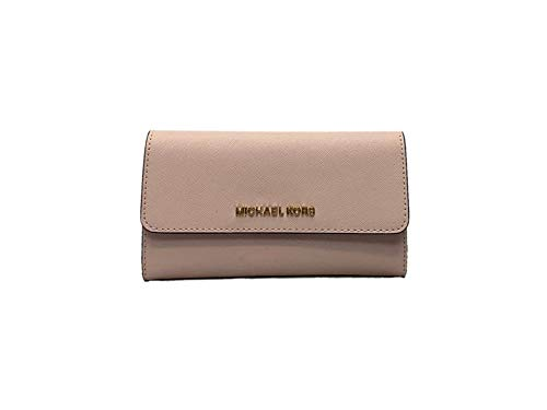 51188c364405 Michael Kors Jet Set Travel Large Trifold Saffiano Leather Wallet -  Blossom/Fawn