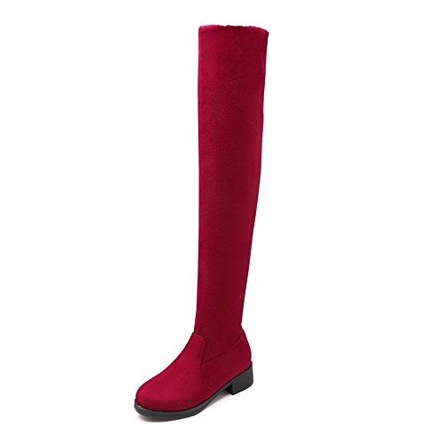 Solid Boots Round Pull Frosted On Allhqfashion Women's Low Heels Toe Closed Red zqECqOpxw7