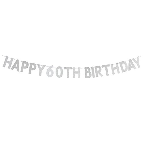 Happy 60th Birthday Banner - Cheers To 60 Years Birthday Anniversary Party Supplies, Ideas and Decorations - -