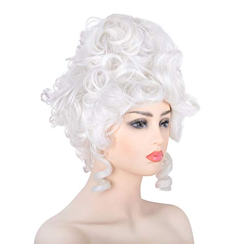 White 18th Century Colonial Wig Women Adult Baroque Marie Antoinette Halloween Cosplay Accessories Free Hair Cap (White)