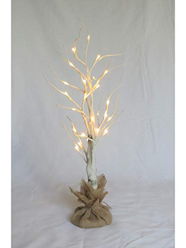 White Birch Tree Lighted 27inches Tall, 24LEDs (Energy efficient), Decor for Hanging Jewelry, Wedding Decor, Complete with Burlap Base Cover (3xAA Included) - Tree Twig Jewelry