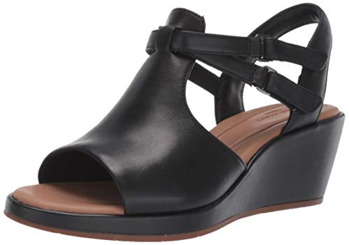 CLARKS Womens Un Plaza Way Sandal, Black Leather, Size 8 Wide