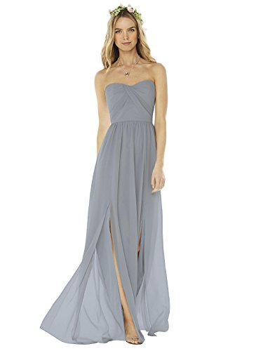SOCIAL BRIDESMAIDS Style 8159 Floor Length Nu-Georgette Princess Line Formal Dress - Strapless Sweetheart Neckline - Platinum - - Bridesmaids Dessy Gowns