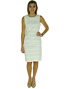 Women's Pintucked Sleeveless Cotton Sheath Dress