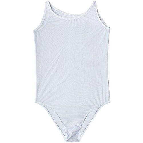TIAOBU Mens One-Piece Mesh Bikini Underwear Sleepwear Jumpsuit Bodysuit Costume White