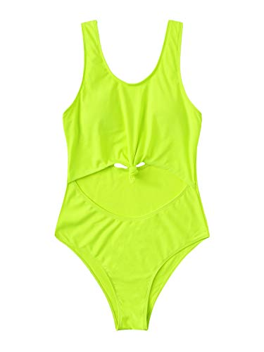 SOLY HUX Women's Cut-Out Front Knot Scoop Neck One Piece Swimsuits Sexy Bathing Suits Neon Green L