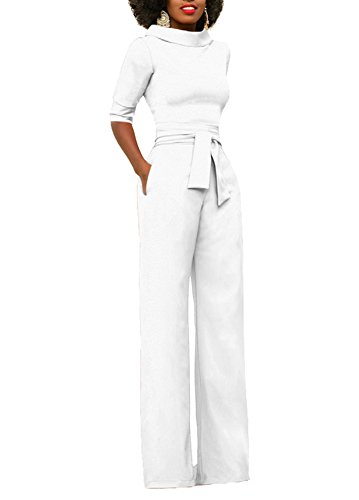 Mojessy Women's Half Sleeve Candy Solid Bodycon Jumpsuits Wide Leg Long Romper Pants With Belt X-Large White (Suits Ladies Pant)