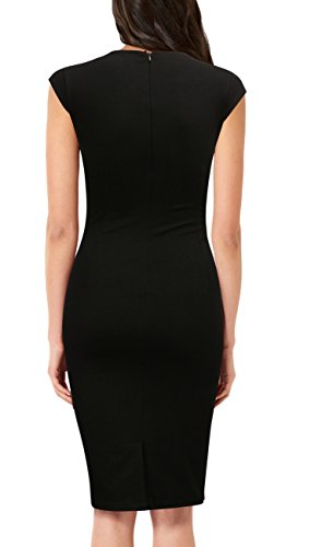 Party Black to Wear Neck Dress Elegant Round Work Sleeveless FORTRIC Women Pencil wHBzqnf