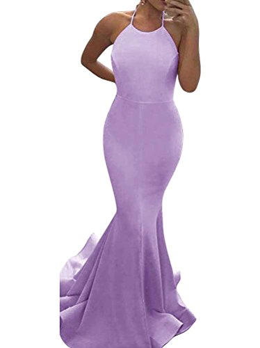 Halter Ärmellos Rot Satin Elegantes Aiyana Abendklei Meerjungfrau Rueckenfrei Brautkleid Langes Kleid Rosa WYFfxO7q