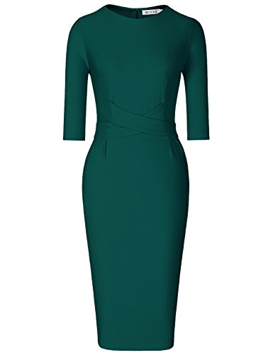 MUXXN Lady Retro 1950s 3/4 Sleeves Tie Waist Knee Length Formal Midi Dress (Dark Green M)
