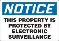 Accuform MASE814VA Aluminum Safety Sign Legend NOTICE THIS PROPERTY IS PROTECTED BY ELECTRONIC SURVEILLANCE 14 Length x 20 Width Blue/Black on White [並行輸入品]  B07KV1Y4XW