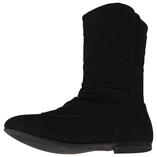 Stiefelparadies Bequeme Flache Damen Stiefel Hochschaft Stiefeletten Schuhe Flandell Schwarz Nieten