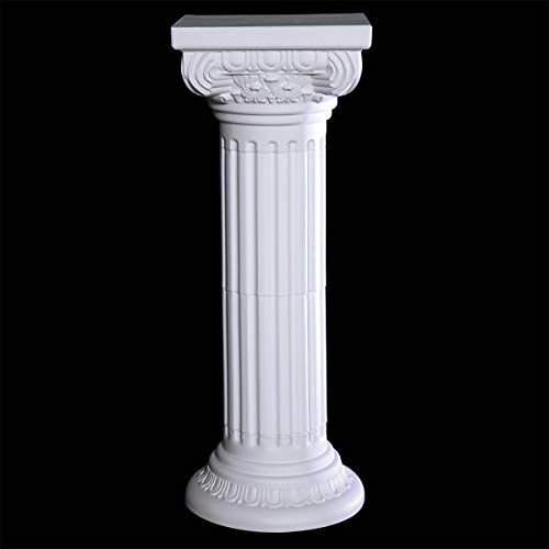 Pillar Square Wedding (Plastic Column Prom Decoration Kit, Molded White Plastic, 37 Inches High x 14 Inches Square Topper)