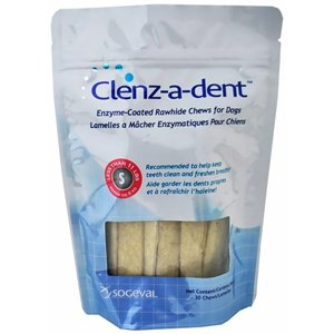 Clenzadent Rawhide Chews for Dogs Small (30 ct) by Clens-a-dent