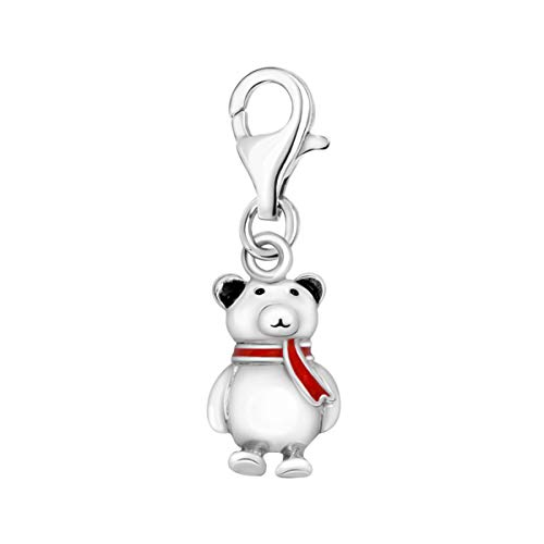 Quiges 925 Sterling Silver 3D Cute Teddy Bear with Red Enamel Scarf Clip On Lobster Clasp Charm Pendant