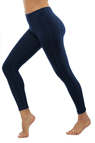 THE GYM PEOPLE Compression Yoga Leggings for Women, Heart Shape Workout Pants with Pocket Super Power Flex Fabric (Medium, 12/Blue)