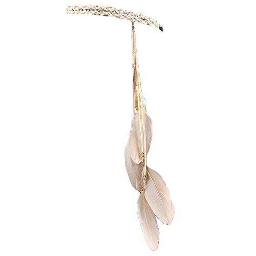 Song Qing Women Feather Leaf Tassels Braided Hippie Headband Hair - Hippie Feather