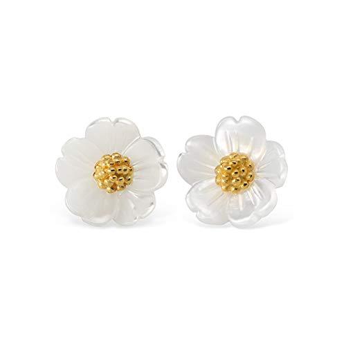 HANFLY 925 Sterling Silver Plum blossom Earrings Tiny Flowers Stud Earrings Shells Earrings