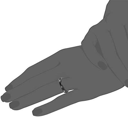 Bishilin 4mm Mens Stainless Steel Wedding Rings Tungsten Matte Beveled Edges Black Wedding Band Size:4