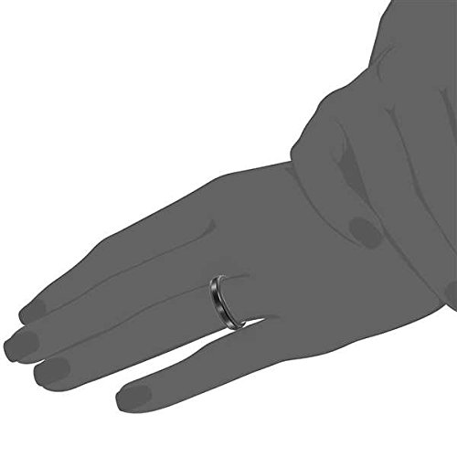 Bishilin 4mm Mens Stainless Steel Wedding Rings Tungsten Matte Beveled Edges Black Wedding Band Size:8
