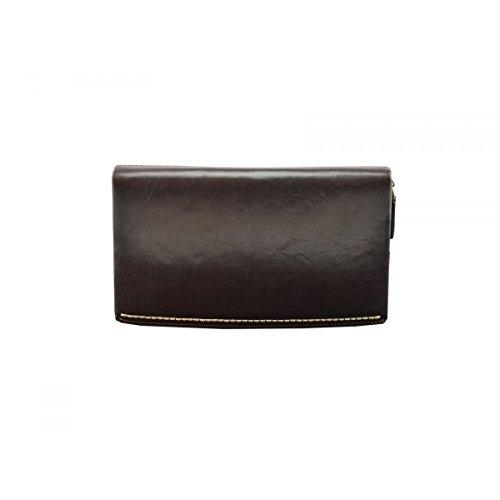 Dream Leather Bags Made in Italy Piel Verdadera Clutch Unisex En Piel Verdadera Color Marrón Oscuro - Peleteria Echa En Italia - Bolso Hombre