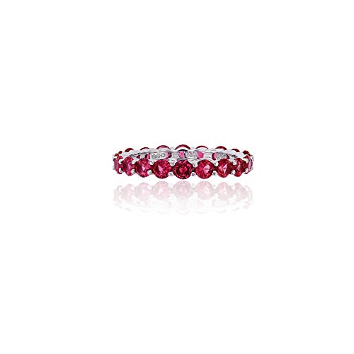- Decadence Sterling Silver 3mm Round Ruby CZ Prong Set Eternity Band Ring