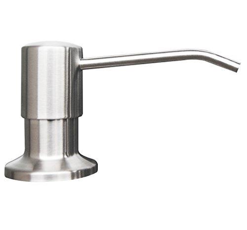 - Korlon Stainless Steel Built in Pump Kitchen Sink Dish Soap Dispenser - Large Capacity 17 OZ Bottle - 3.15 Inch Threaded Tube for Thick Deck Installation