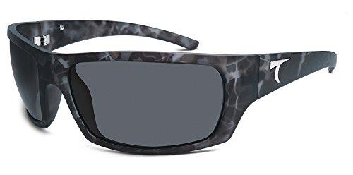 Typhoon Men's Cayucos Polarized Wrap Sunglasses, Matte Black Camo Frost/Aquaview Horizon Grey, 78 - Sunglasses Polarized Typhoon