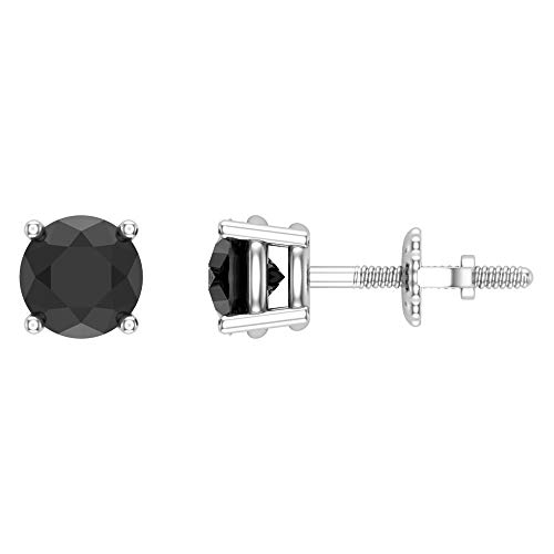 Round Cut Black Diamond Stud Earrings 1.50 carat total weight 14K White Gold Black Stud Earring Box