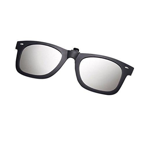 On Homme Pour Lunettes Sunglasses Flip de Givré Rectangle UV400 Argent Clip Miroité Eyewear Soleil Anti Up Hzjundasi Cadre Polarisées Femme éblouissement U1qFwXx