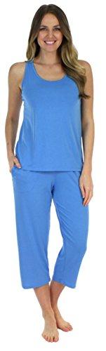 Tank Trim Feather (Sleepyheads Women's Sleepwear Jersey Lightweight Tank Top and Capri Pajama Set (SH1832-4077-SML))