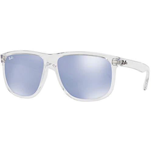 Ray-Ban RB4147 Boyfriend Square Sunglasses, Transparent/Violet Silver Flash, 56 mm