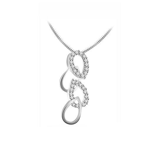 Or Blanc 14 ct Pendentifs Diamant , 0.2 Ct Diamant, GH-SI, 1.66 grammes.