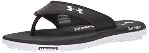 Under Armour Men's Fat Tire Flip-Flop,  Black (033)/White, 10