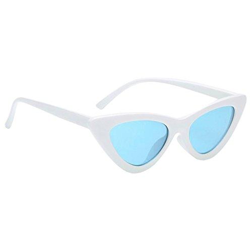 Prettyia UV400 Sunglasses Cat Eye Vintage Retro Womens Fashion Eyewear Shades Eye Glasses - White fram Ocean Blue lens, as - White Fram