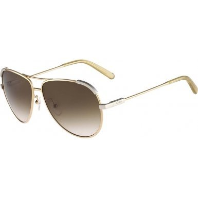 Chloé Women's Nerine Aviator Light Gold/Beige - Chloe Sunglasses Aviator