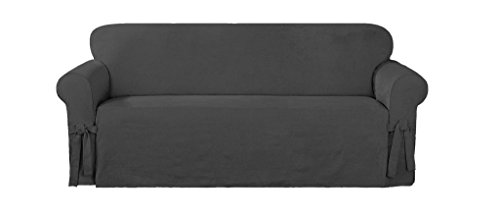 Chezmoi Collection Soft Micro Suede Solid Cover Slipcover with Elastic Band Under Seat Cushion (Sofa, Charcoal)
