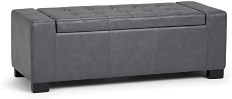 SIMPLIHOME Laredo 51 inch Wide Rectangle Lift Top Large Storage Ottoman