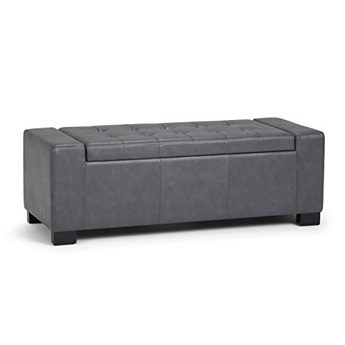 Simpli Home Laredo Large Storage Ottoman Bench, Stone Grey