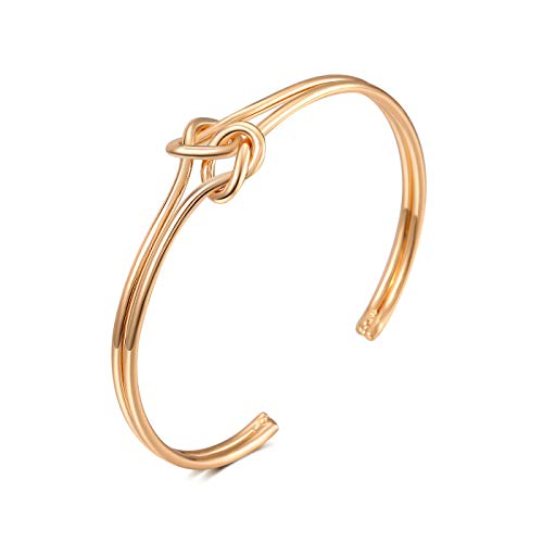 FAMARINE Gold Open Cuffs, Twisted Knot Bangle Bracelet for Women Girls (Gift Box Included)